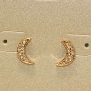 Lydell NYC Dainty Stud Earrings Moon Paved Gold F